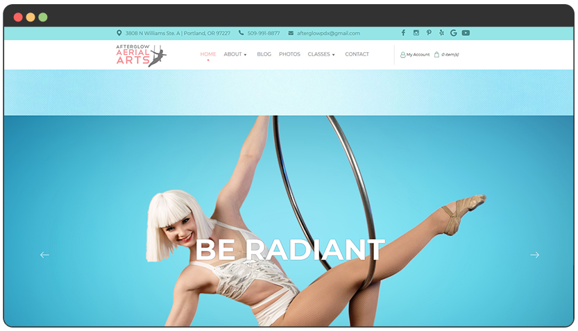 portfolio Performing Arts Website with Class Schedule and Booking System