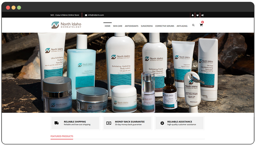 Online Store for Medical & Dermatological Care Services Provider