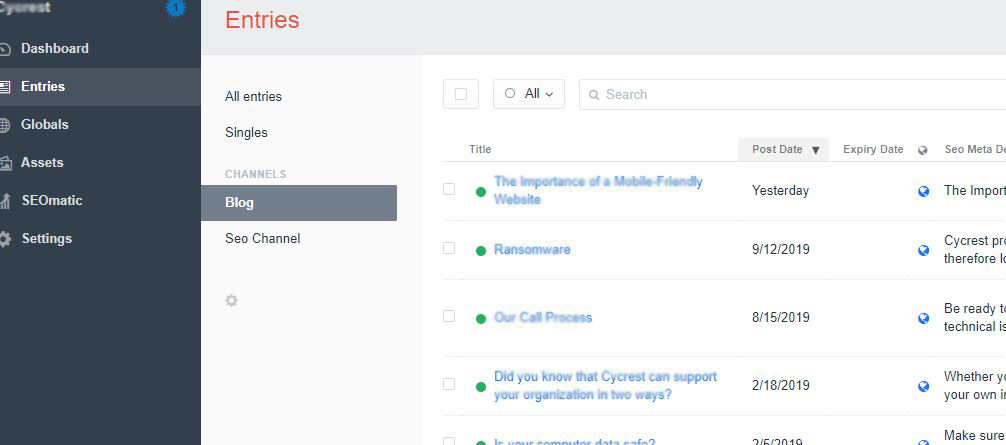 portfolio CraftCMS : Blog + On-Page SEO plugin for blog posts